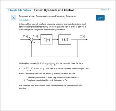System Dynamics and Control Assessment Content