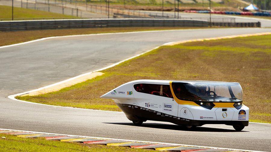 The Stella solar car on the racetrack at the 2013 Bridgestone World Solar Challenge.
