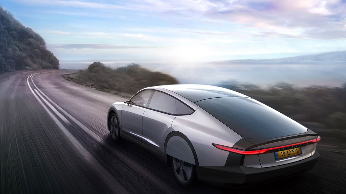The Lightyear One car driving on a road