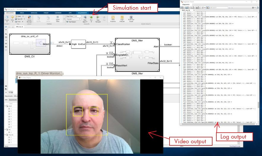 Figure 1. Simulation of the driver monitoring system showing face and eyes detected in the video stream.
