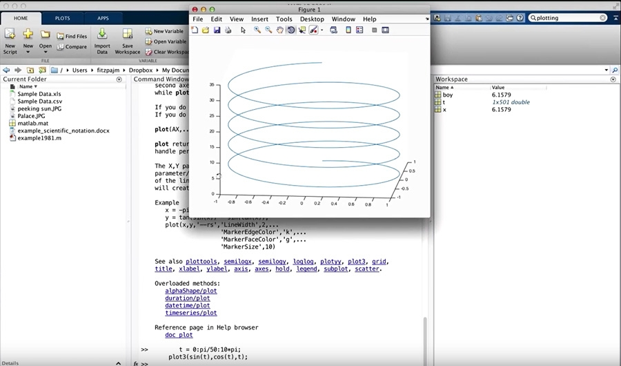 Figure 1.  A video lecture on plotting in MATLAB that demonstrates how to create a 3D plot of a helix with just two lines of MATLAB code.