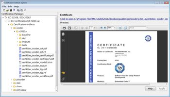 Figure 2. The Certification Artifacts Explorer of IEC Certification Kit, showing the TÜV SÜD certificate for Polyspace products.