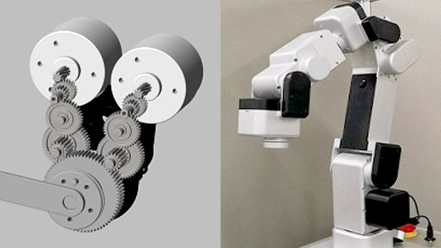 The Simscape Multibody model of the double motor actuator (left), and the robot (right).