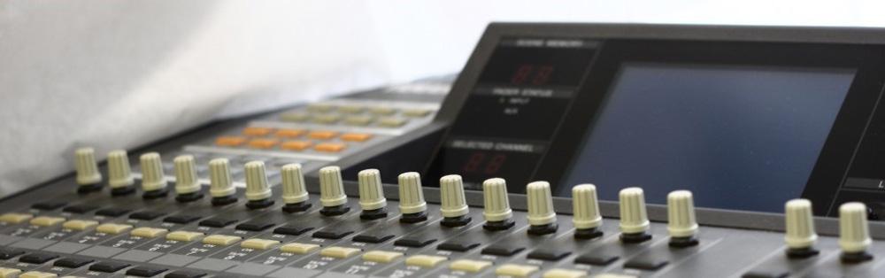 An audio mixer in Dr. Scarpiniti's lab.