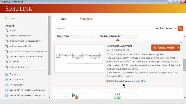 You can now customize which template is used when creating new Simulink® models using the Simulink library browser or command line API.