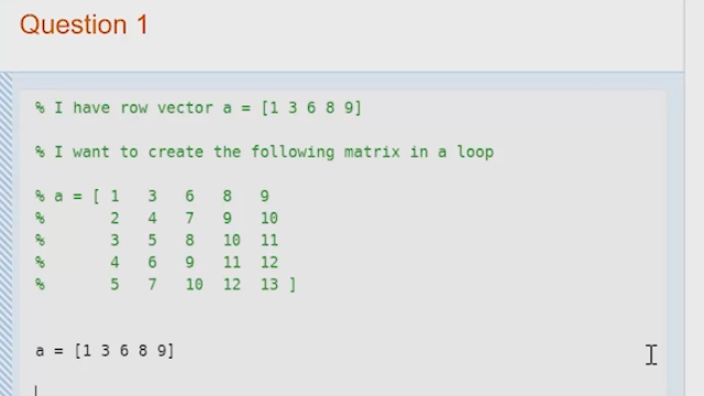 Learn how to create a matrix that has an underlying pattern in a for loop, as well as how to use preallocation for the same process.