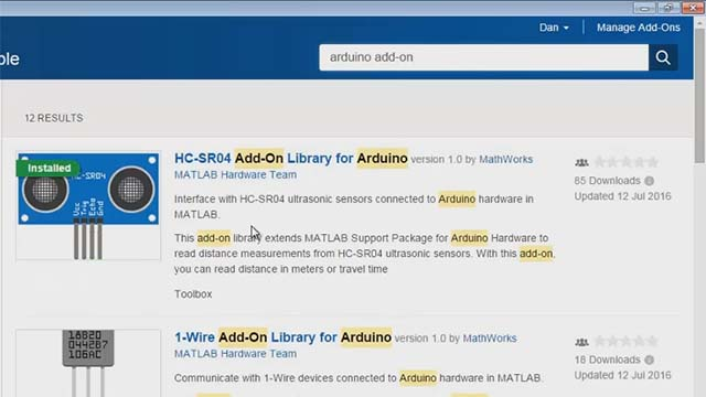 Add-on libraries expand Arduino support from MATLAB by allowing you to connect your Arduino to custom hardware and call third-party libraries. This demo shows how to install and use an accelerometer add-on library.