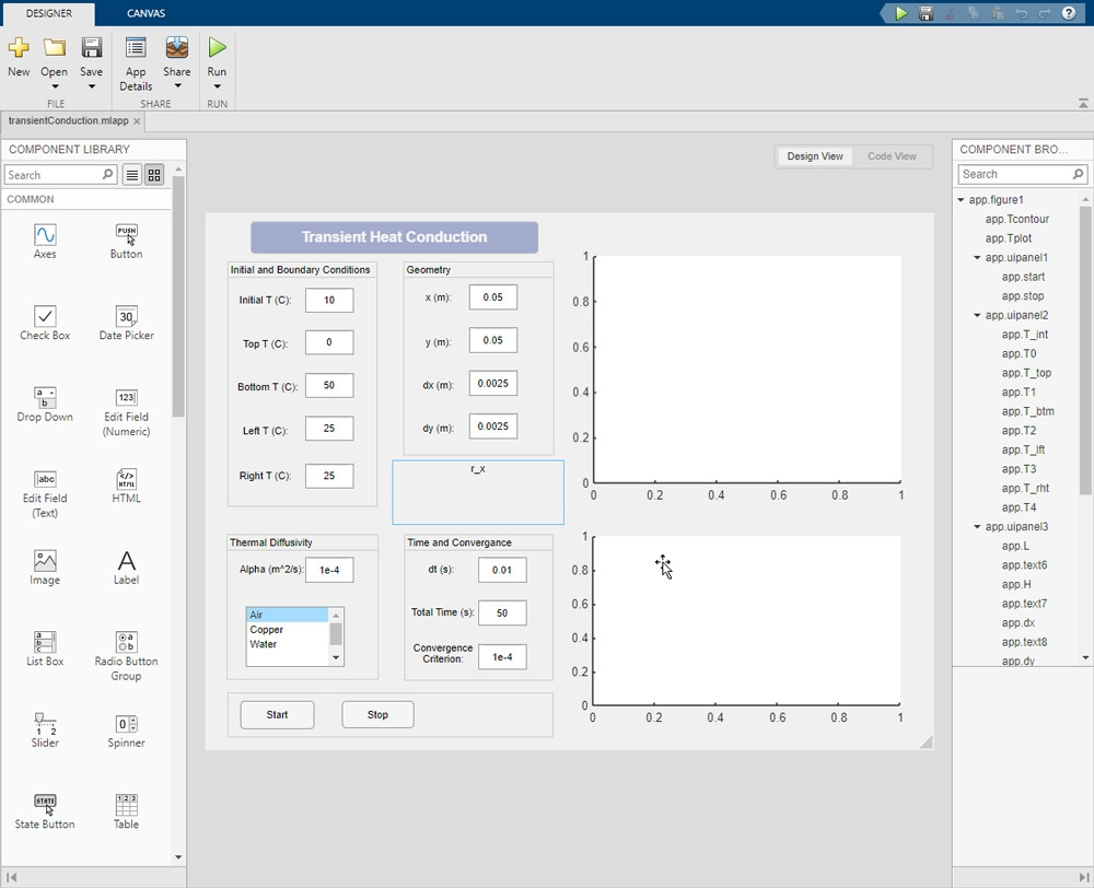 The MATLAB GUIDE interface.