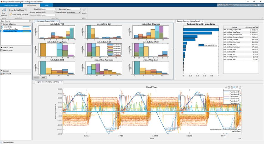 Extract and rank features interactively without writing any code using Diagnostic Feature Designer app in MATLAB.