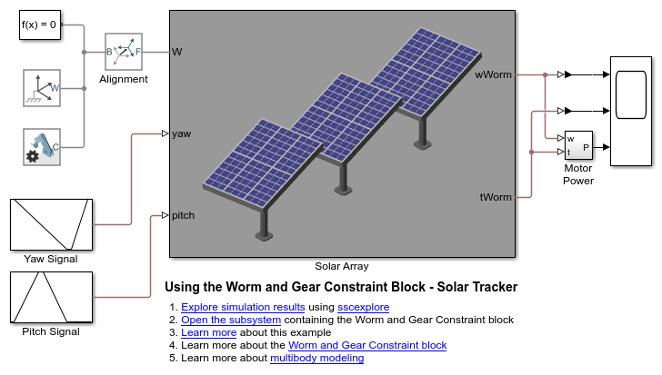 Using the Worm and Gear Constraint Block - Solar Tracker