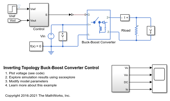 Inverting Topology Buck-Boost Converter Control - MATLAB