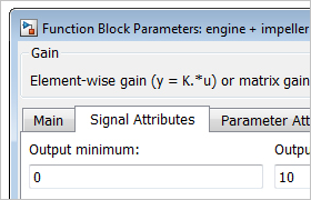 Block dialog box showing the Signal Attributes tab.