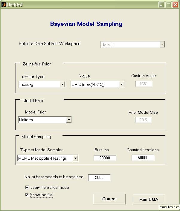 BMS toolbox for Matlab: Bayesian Model Averaging (BMA