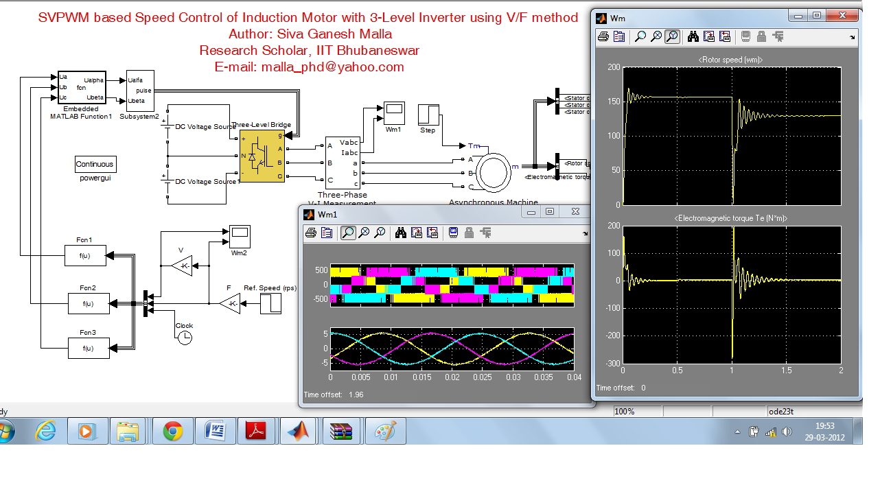 Svpwm based speed control of induction motor with 3 level for Speed control of induction motor