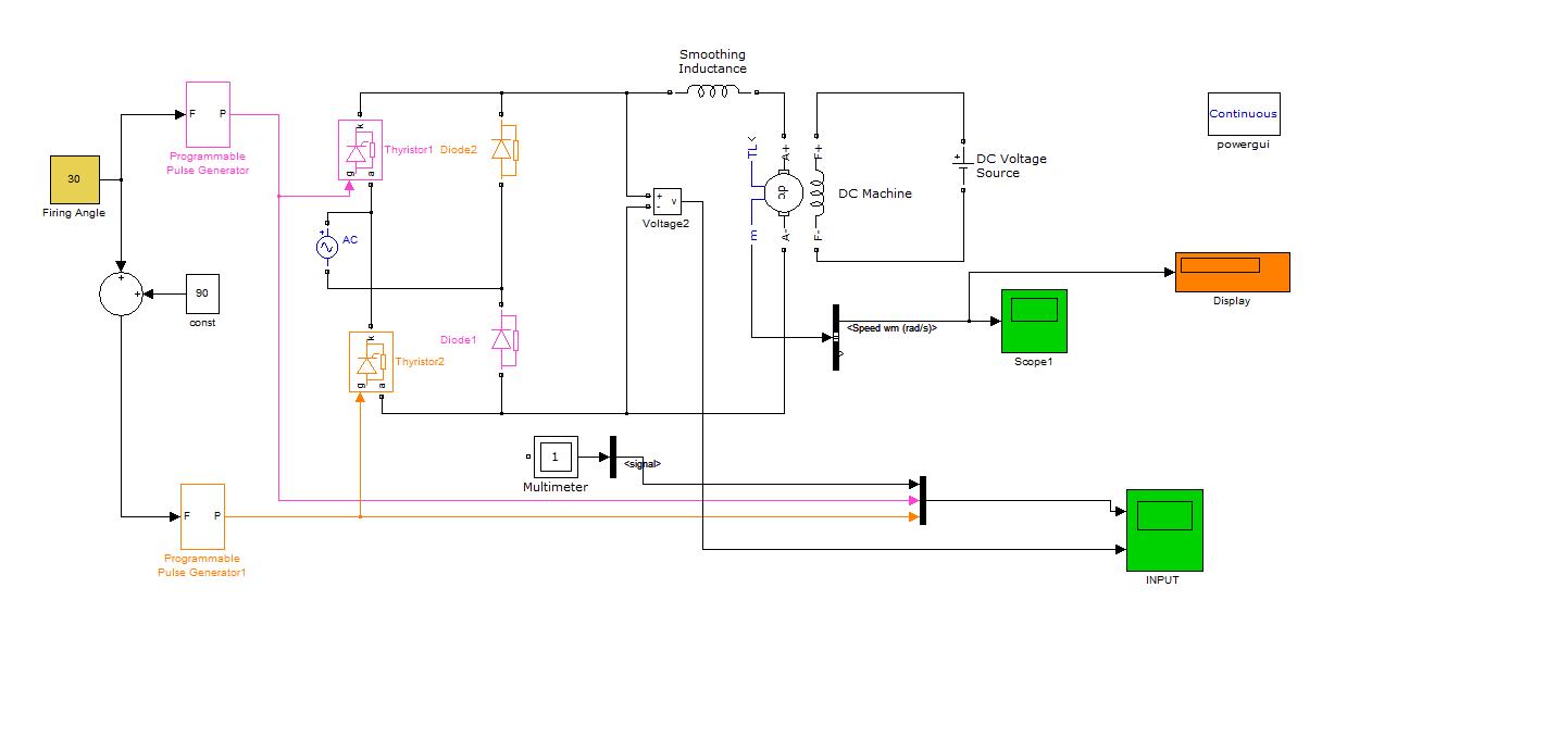 Speed Control Of    DC    motor using half controlled bridge