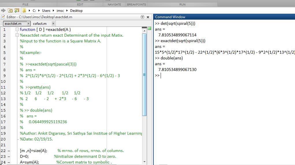 Exact Symbolic Determinant Of A Matrix Without Matlab Inbuilt