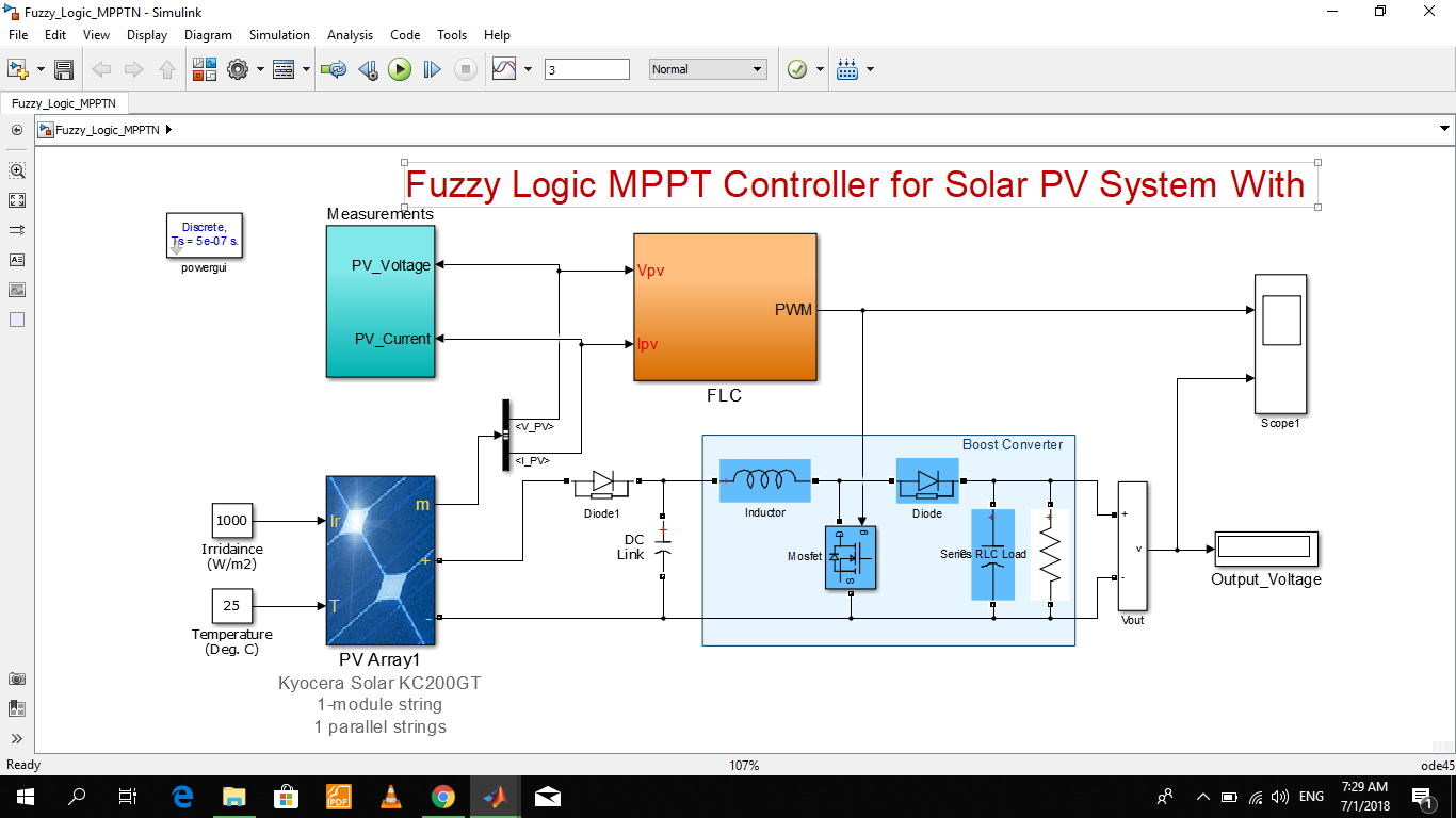 Fuzzy Logic Mppt For Solar Pv - File Exchange