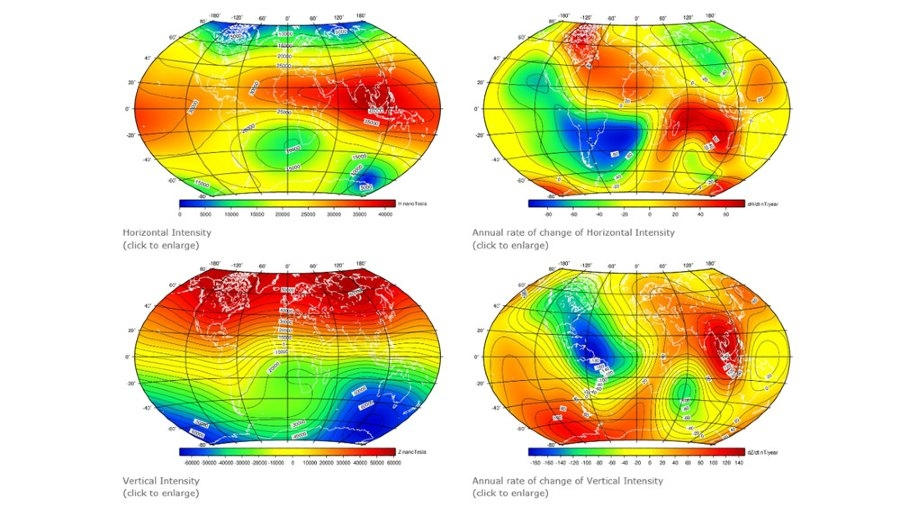 Calculate Earth magnetic field and secular variation with the IGRF-13 magnetic field model