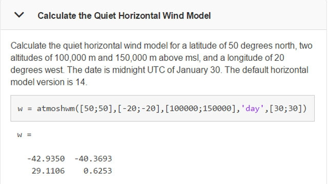 Example of using the function atmoshwm.