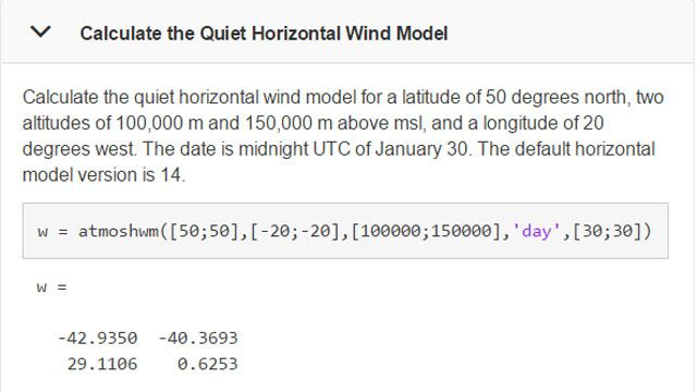 Calculate wind models at a specific time and location.