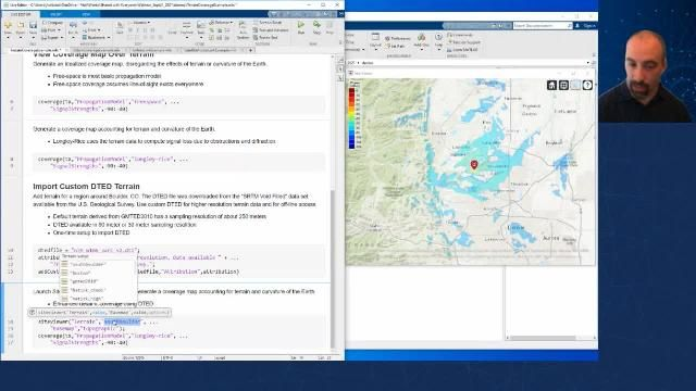 Visualize multiple transmitters and receivers on a 3D terrain map. Perform analysis over terrain, visualize the 3D antenna radiation pattern on the map, and generate coverage, communication link, and SINR visualizations.