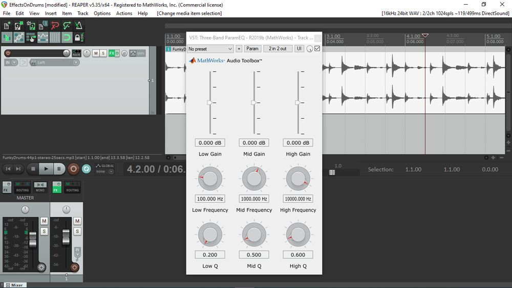 Multi-band parametric EQ example: VST plugin generated from MATLAB code and running in REAPER.