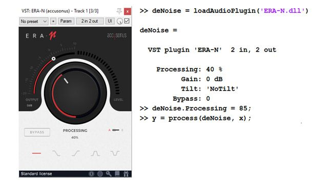 To the left, the UI of a commercial audio plugin for audio denoising, featuring a large knob to set the level of noise suppression. To the right, a few lines of code show how the same plugin can be imported and used programmatically as a MATLAB object.
