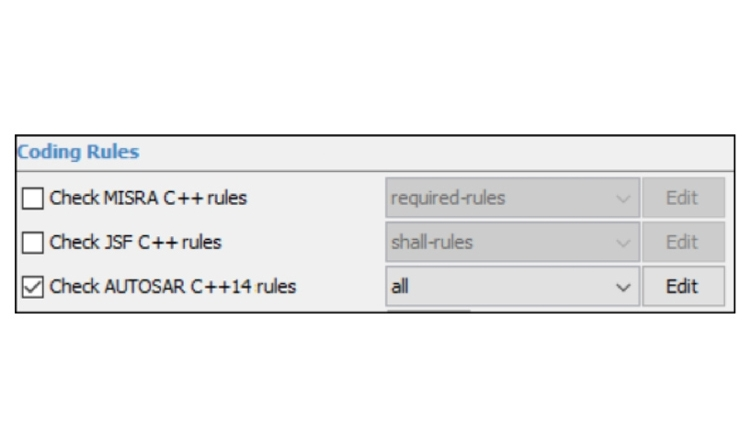 Polyspace Bug Finder can detect violations of the AUTOSAR C++14 coding standard.