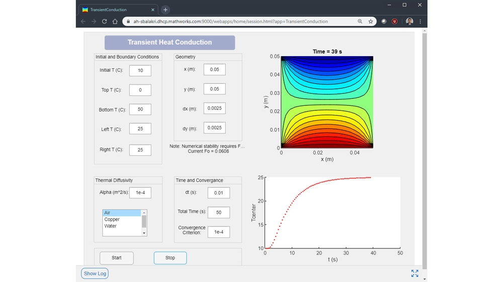 Transient Heat Conduction web app developed on Windows and running on a Linux server.