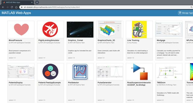 Share MATLAB apps and Simulink simulations as browser-based web apps using MATLAB Web App Server.