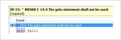 Identifying the use of goto statements in C code during the code review phase