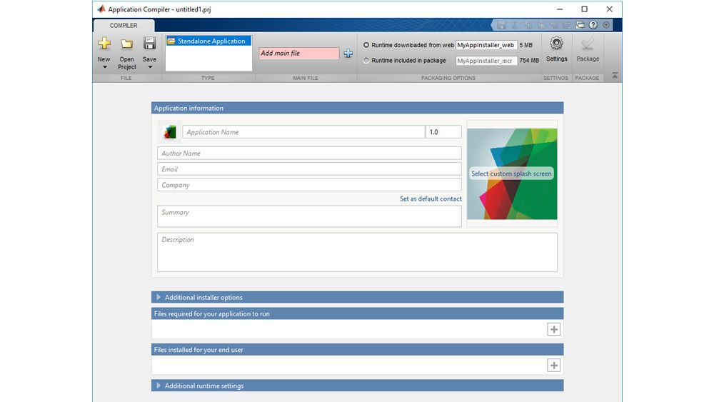 MATLAB Compiler screen for creating a standalone application.