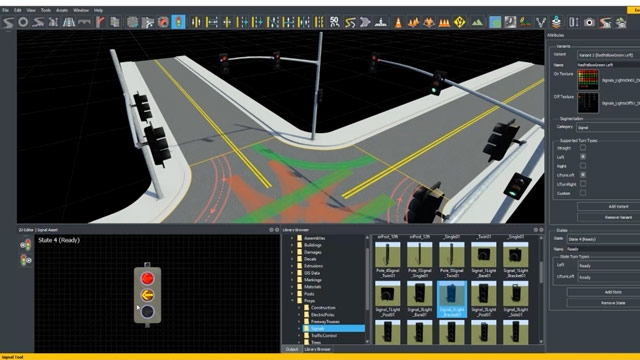 Use RoadRunner to create and edit traffic signals and signal timing phases for automated driving simulation.