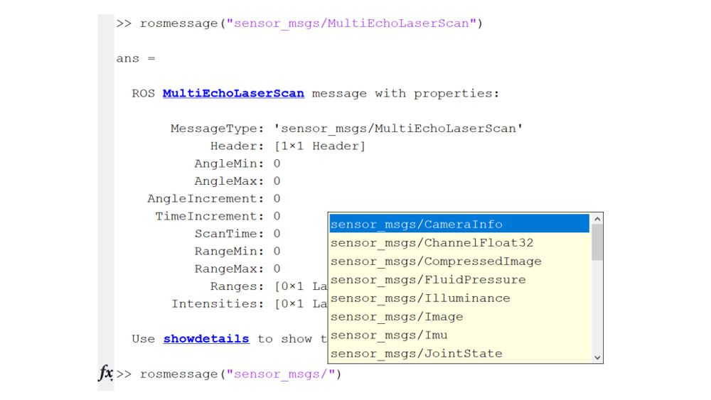 Example of supported ROS messages.