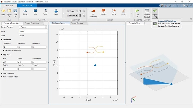 Design tracking scenarios interactively to generate MATLAB code and test tracking algorithms.