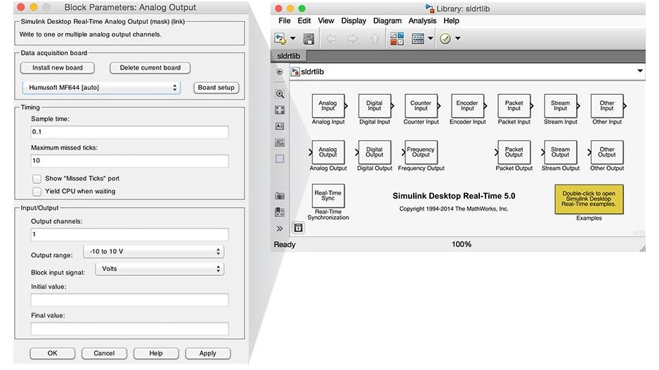 Simulink Desktop Real-Time block library.
