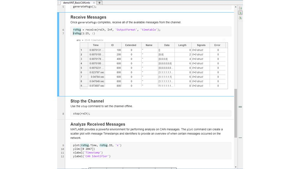 CAN messages in a timetable and a live script for analyzing them.