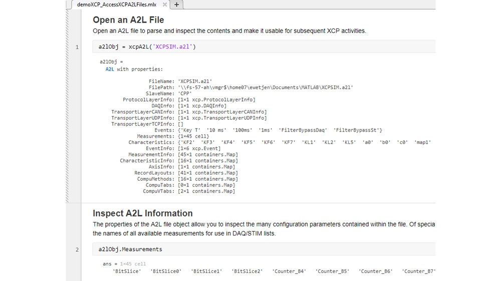 Code example showing how to access information stored in A2L files for use with XCP connections. It uses a freely available XCP slave simulator from Vector and Vector Virtual CAN channels.