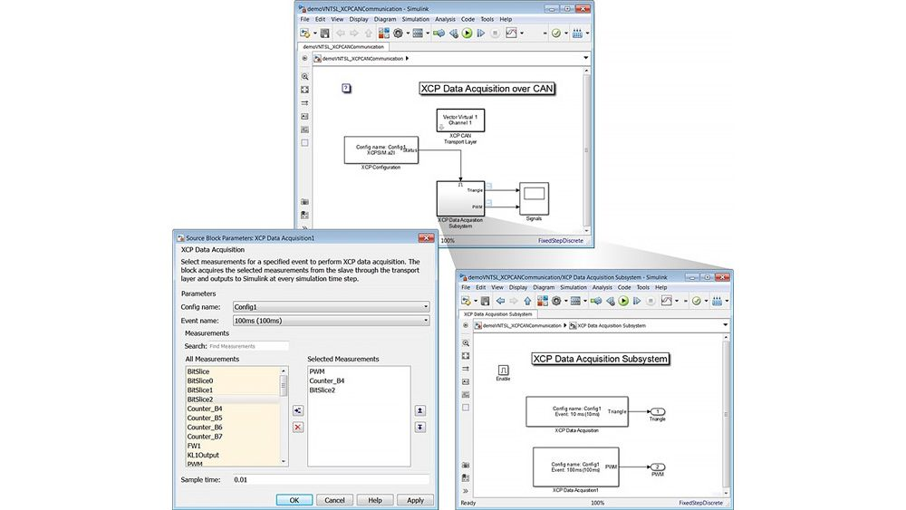 Three windows showing a Simulink model and XCP Data Acquisition block mask to configure XCP data acquisition.