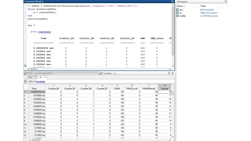 Example code to preview an MDF file in the command-line interface and then inspect the data in the Variables editor.