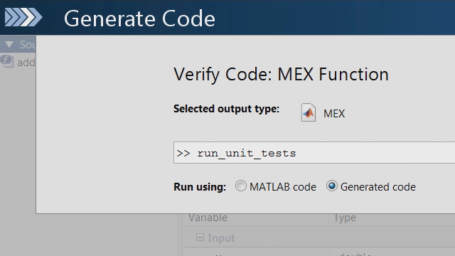 Use the MATLAB unit testing framework to check if changes to your MATLAB code results in any unit test failures in the C code generated by MATLAB Coder.