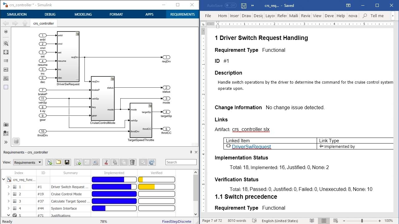 Document your requirements for review with reports from Simulink Requirements and include requirement attributes, status, and traceability to design, code, and text.