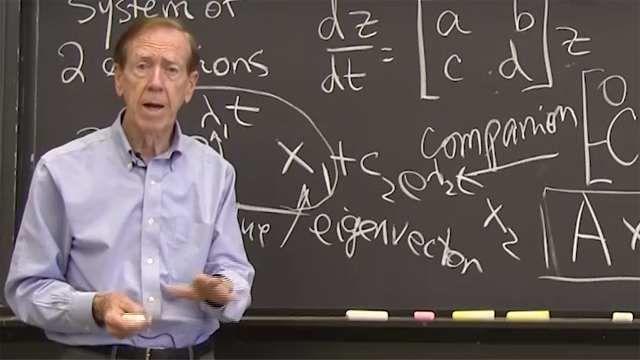 A second order equation gives two first order equations for <em>y</em> and <em>dy/dt</em>. The matrix becomes a companion matrix.