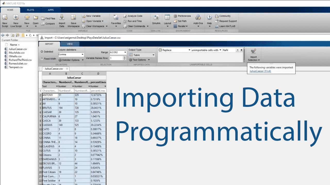 Learn how to import data programmatically in MATLAB by creating a script from the generate code option in the import tool or by writing code from scratch.