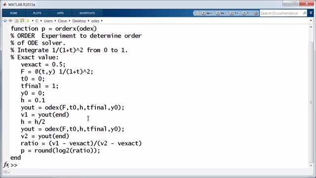 The digits in the name of a MATLAB ODE solver reflect its order and resulting accuracy. A method is said to have order p if cutting the step size in half reduces the error in one step by a factor of two to the power p+1.